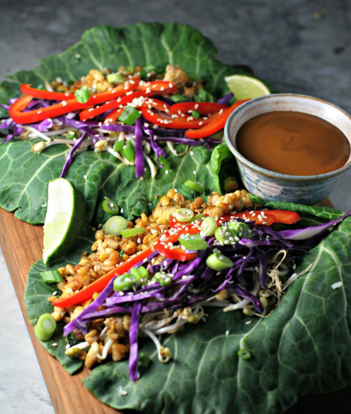Thai tempeh collard green wraps