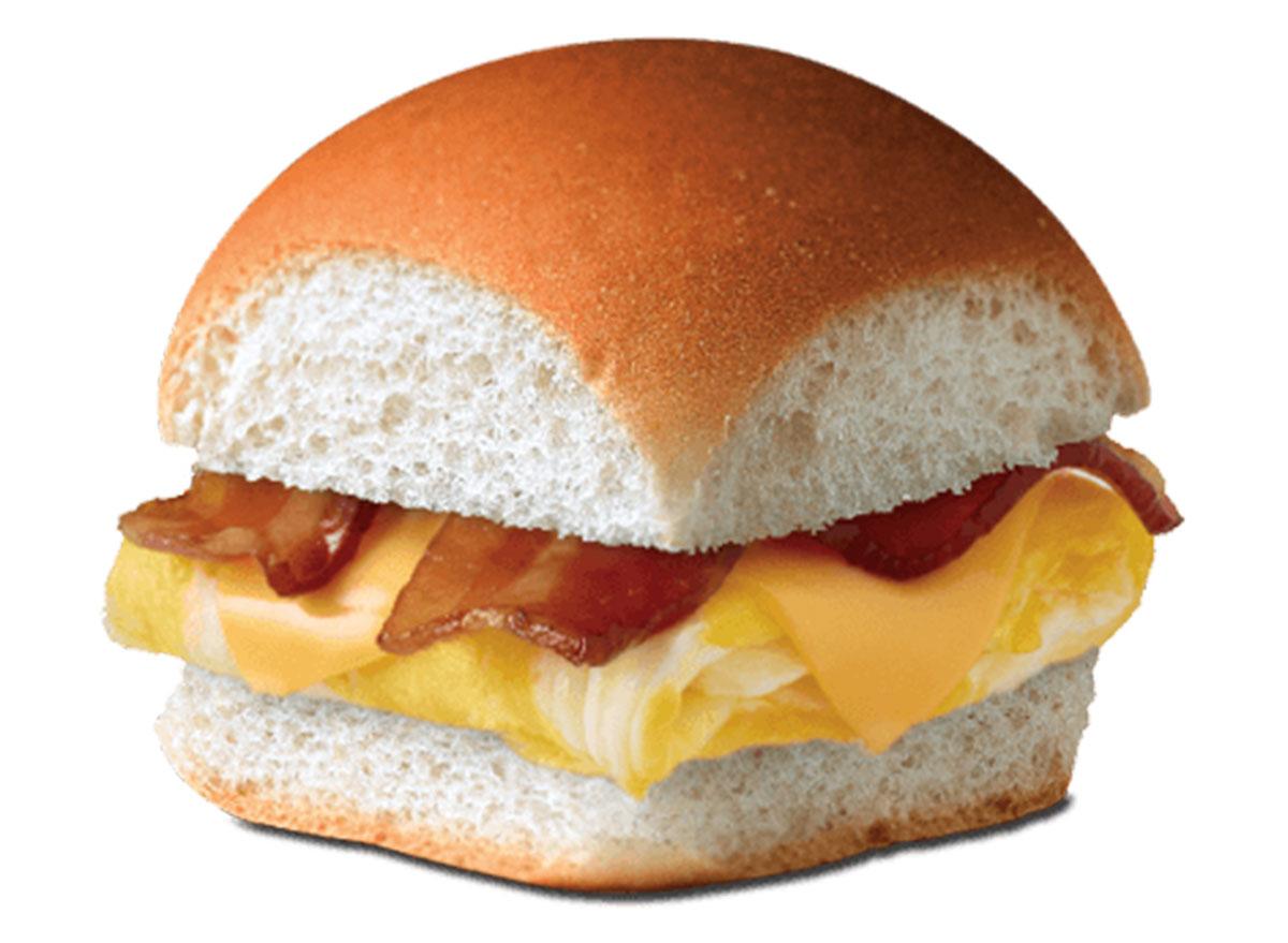 Breakfast slider bacon egg cheese
