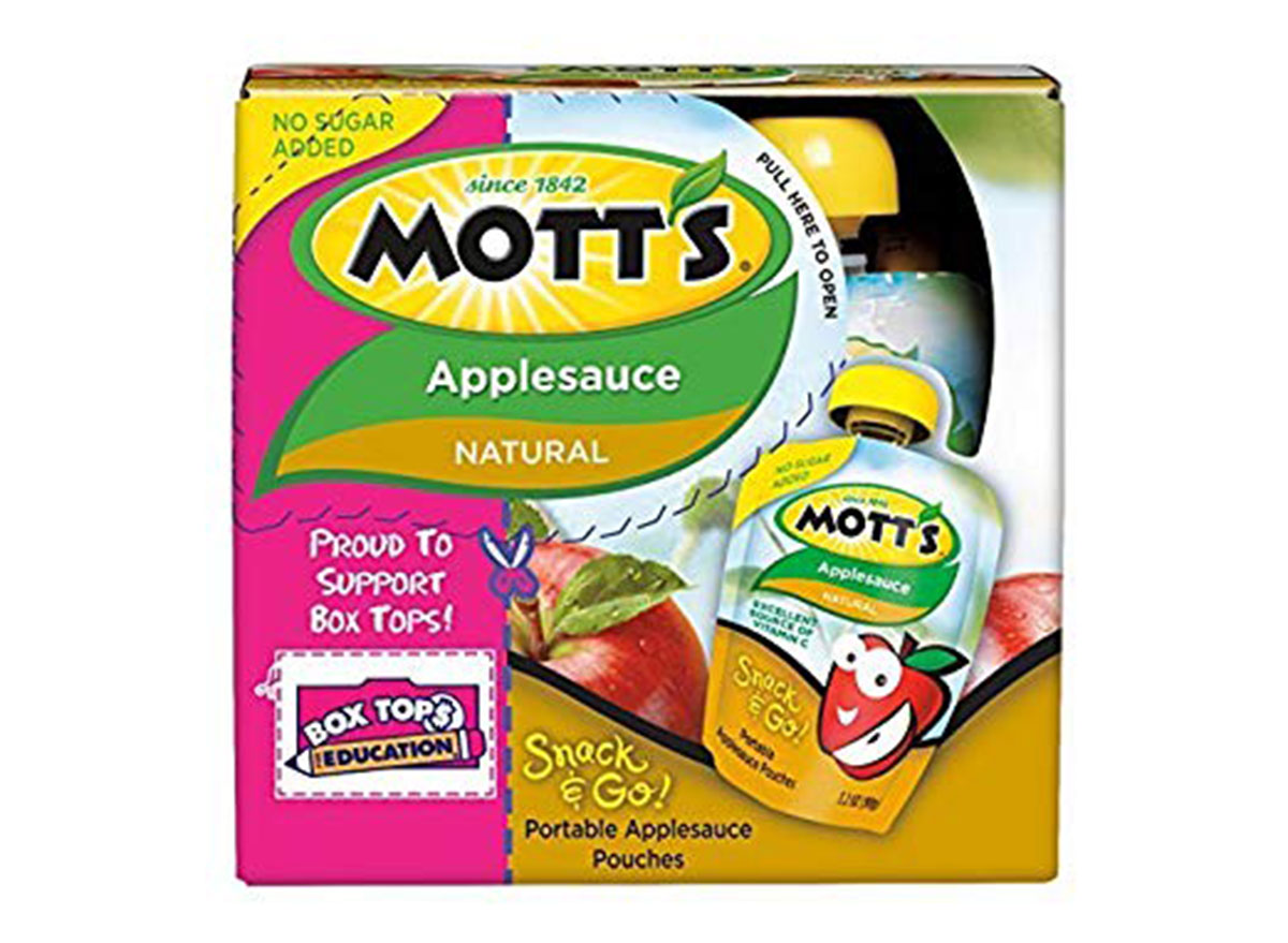 Mott snack and go natural applesauce box