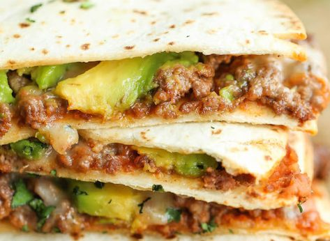 Beef avocado quesadillas