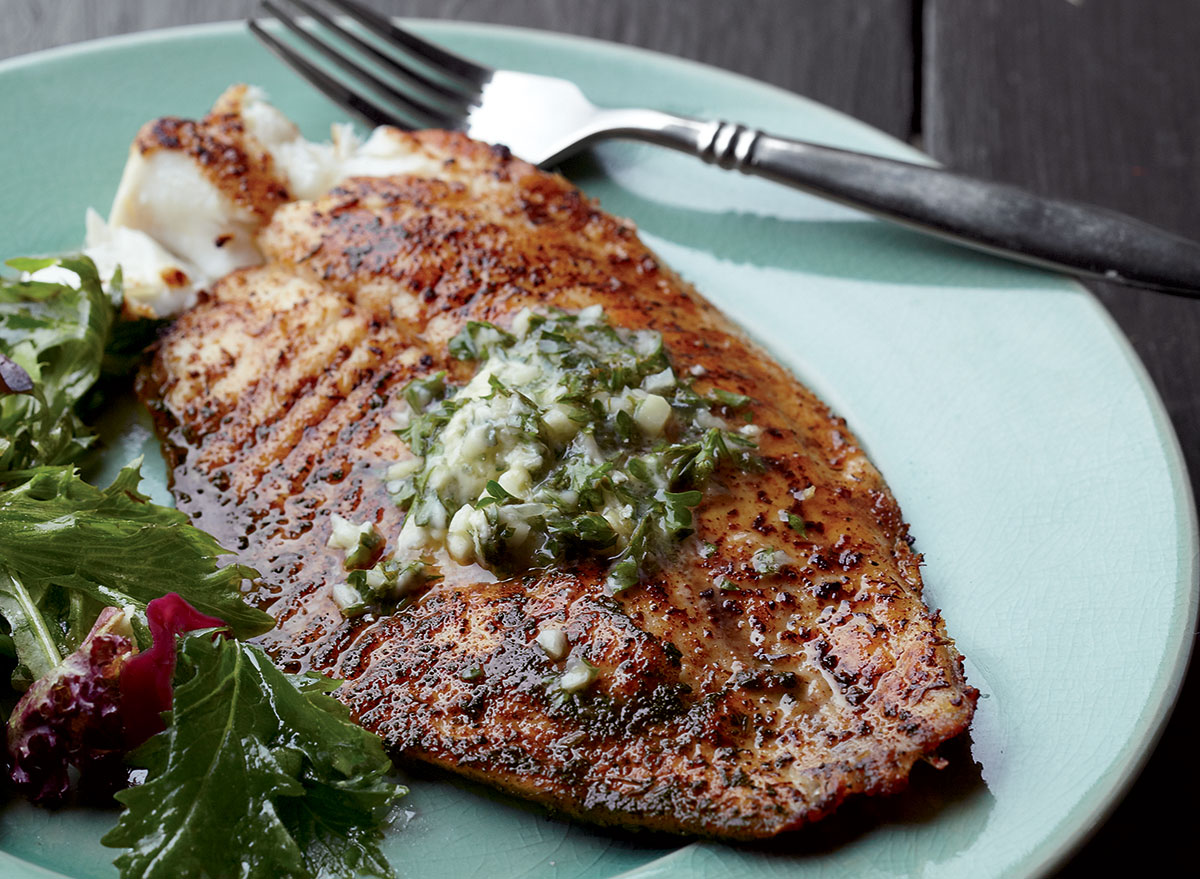 Blackened tilapia with garlic line butter
