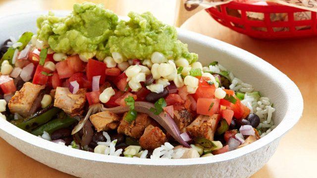 Chipotle burrito bowl chicken fajita veggies