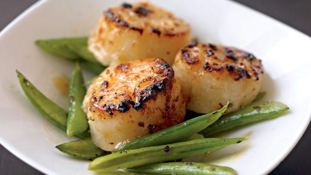 Clean lean miso marinated scallops