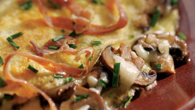 Crispy ham omelette with cheese and mushrooms