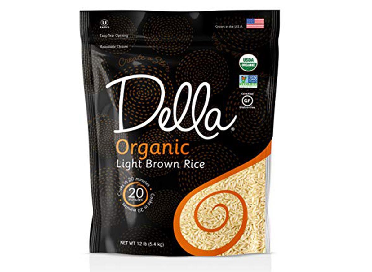 Della organic light brown rice bag