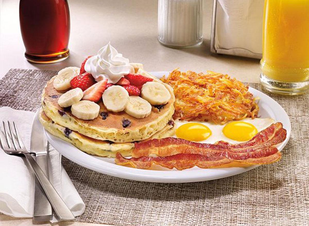 Double berry banana pancake breakfast