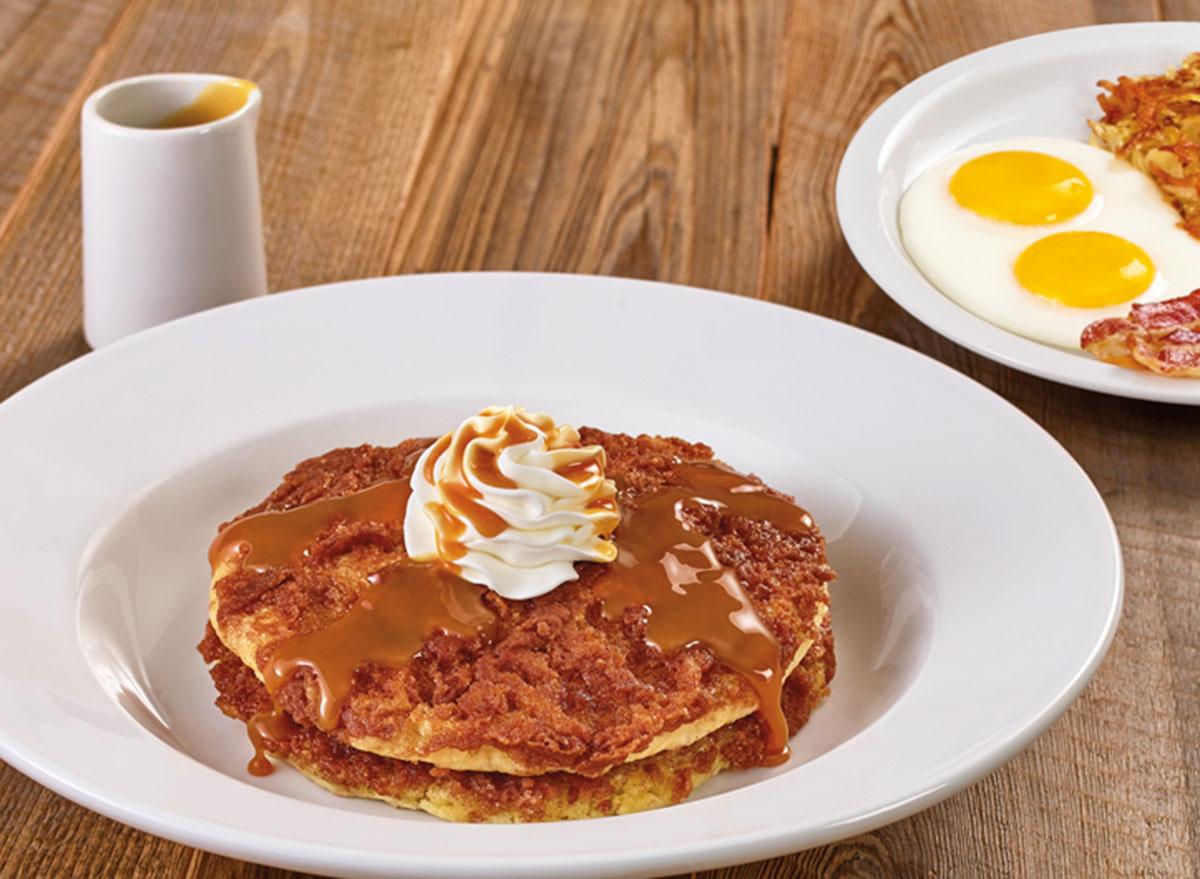 Dulce de leche crunch pancake breakfast