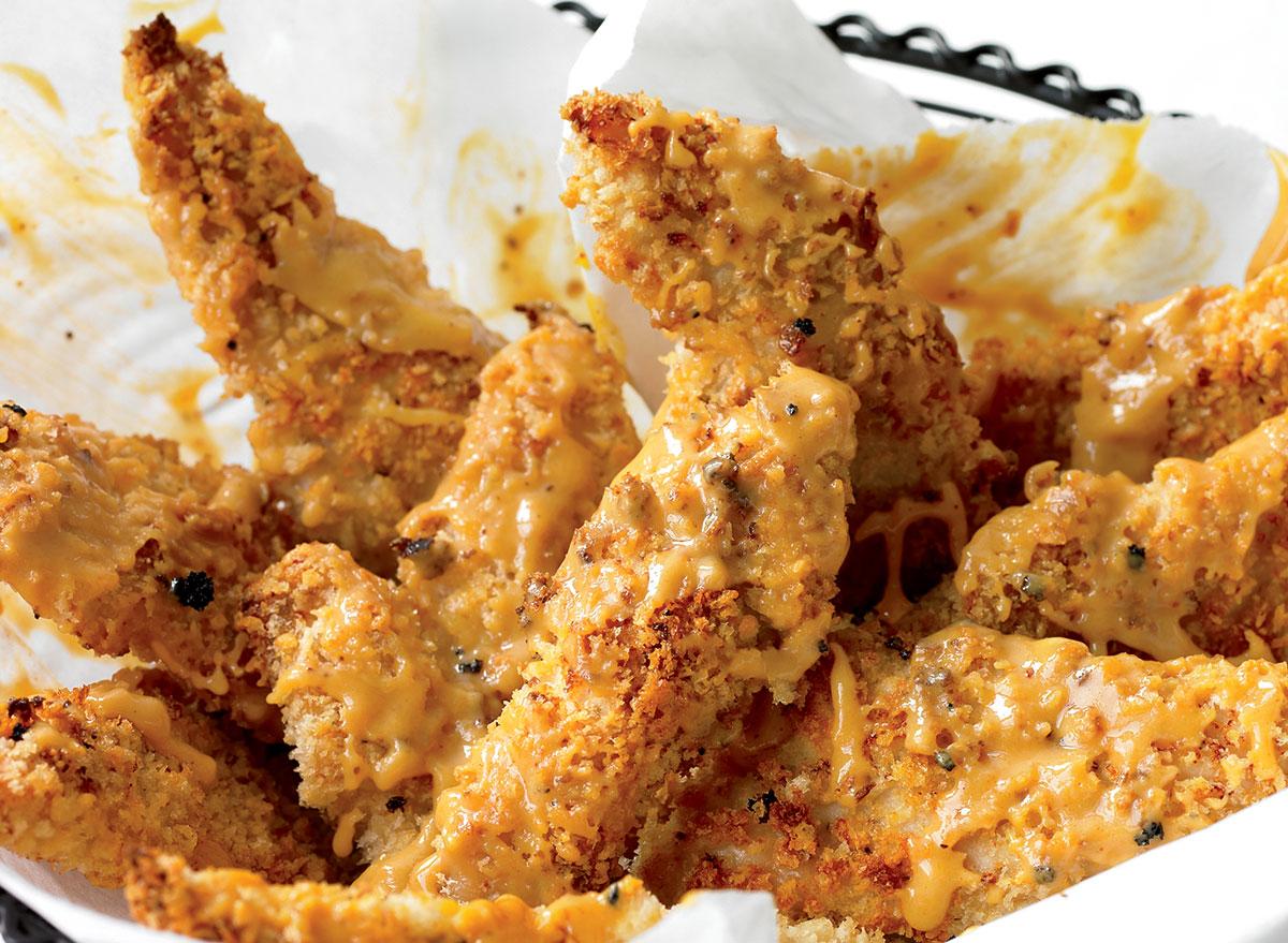Gluten-free chicken fingers with chipotle honey