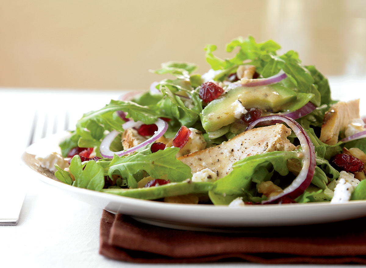 Grilled chicken salad with cranberries avocado and goat cheese