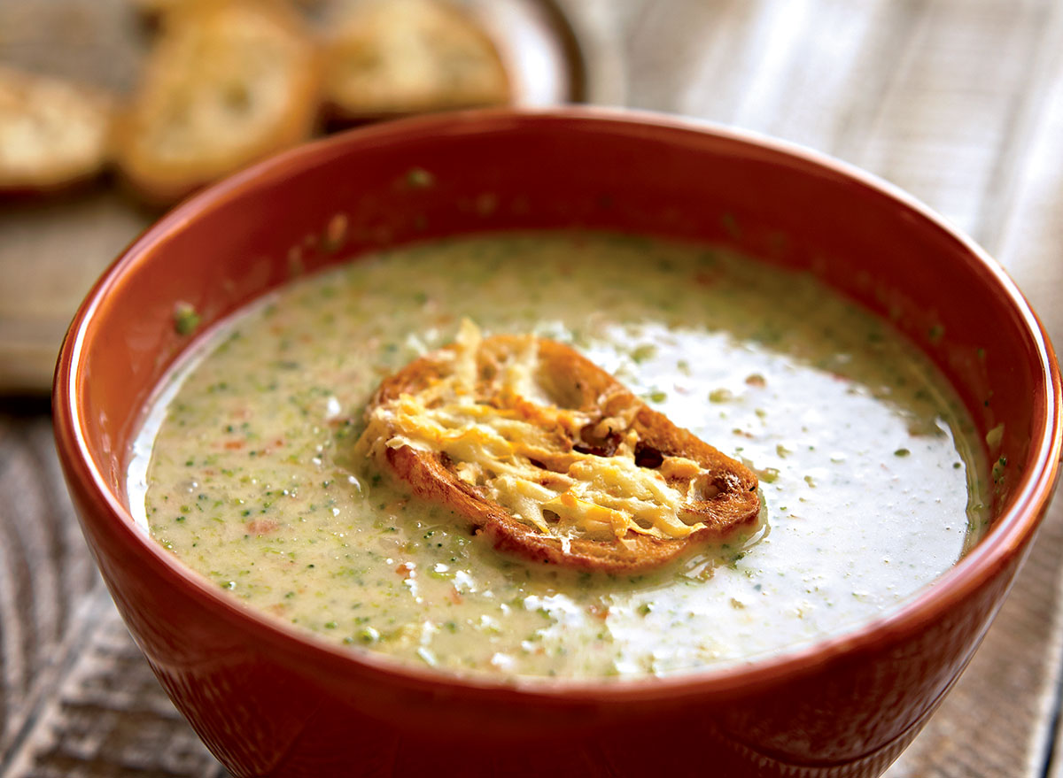 Healthy broccoli-cheddar soup
