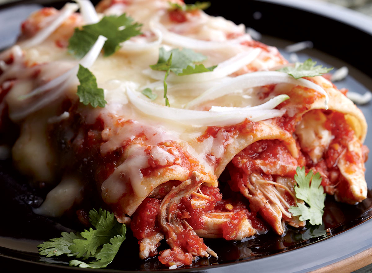 Healthy chicken and red chile enchiladas