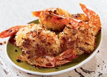 Healthy coconut shrimp