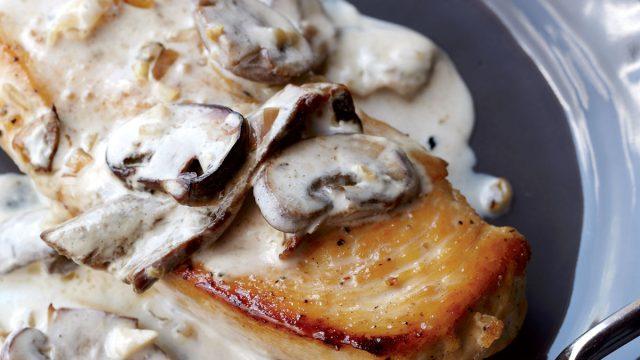 Healthy creamy mushroom chicken