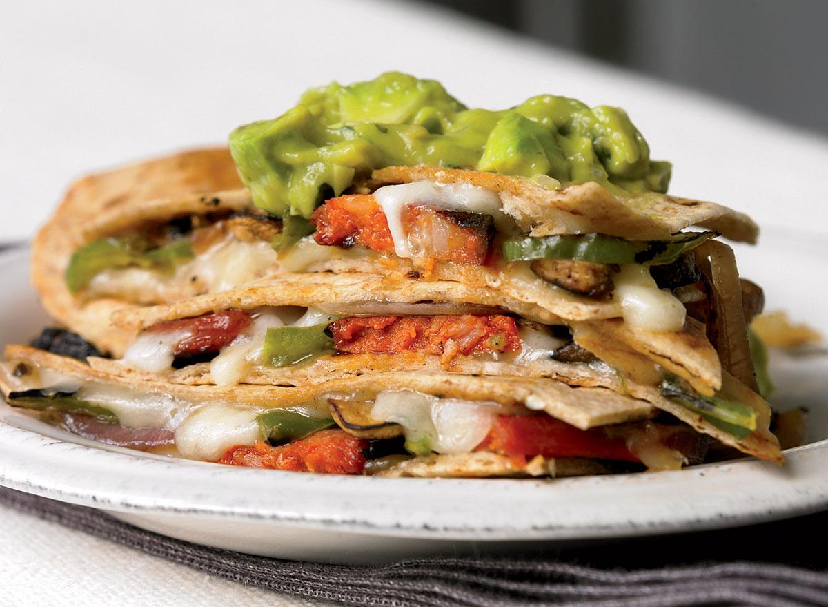 Healthy crispy quesadillas with guacamole