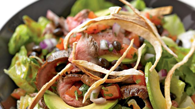 Healthy grilled mexican steak salad