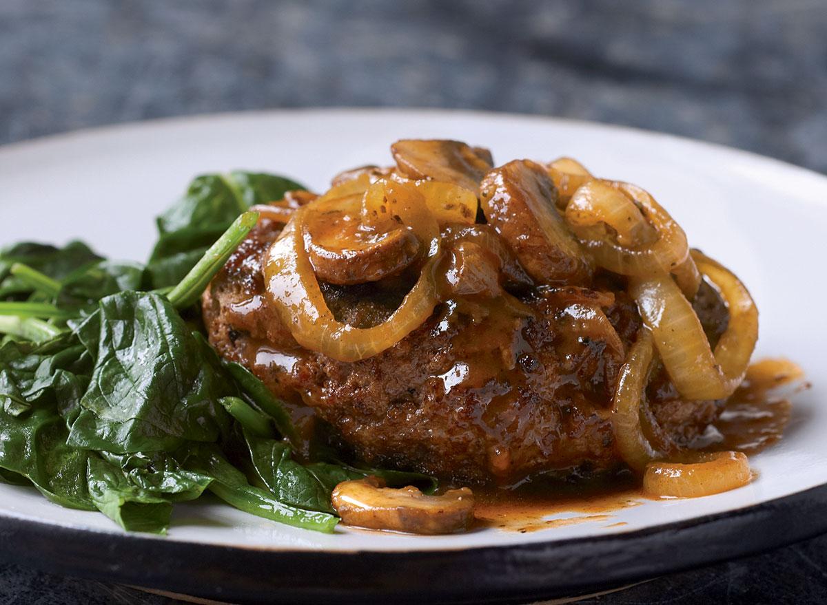 Healthy poor man's steak with garlicky gravy