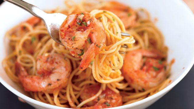 Healthy shrimp fra diavolo