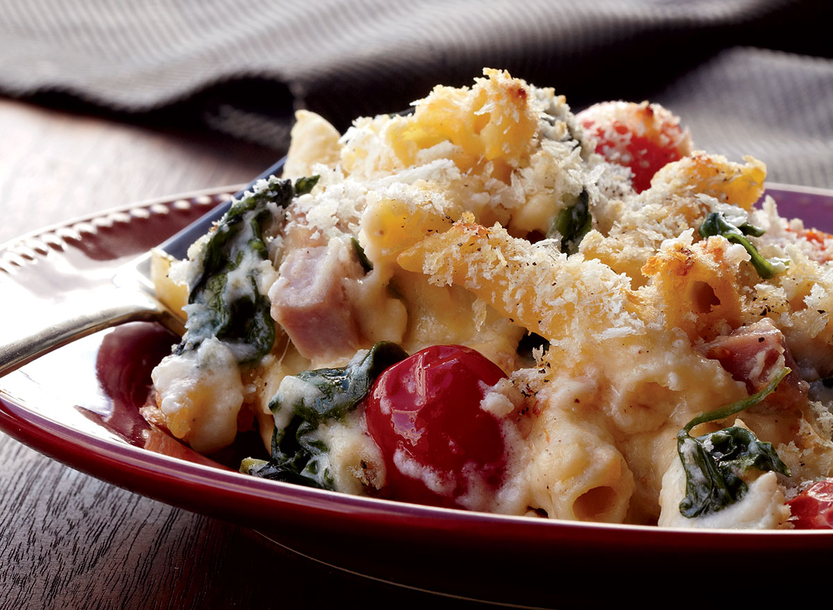 Healthy spinach ham mac and cheese