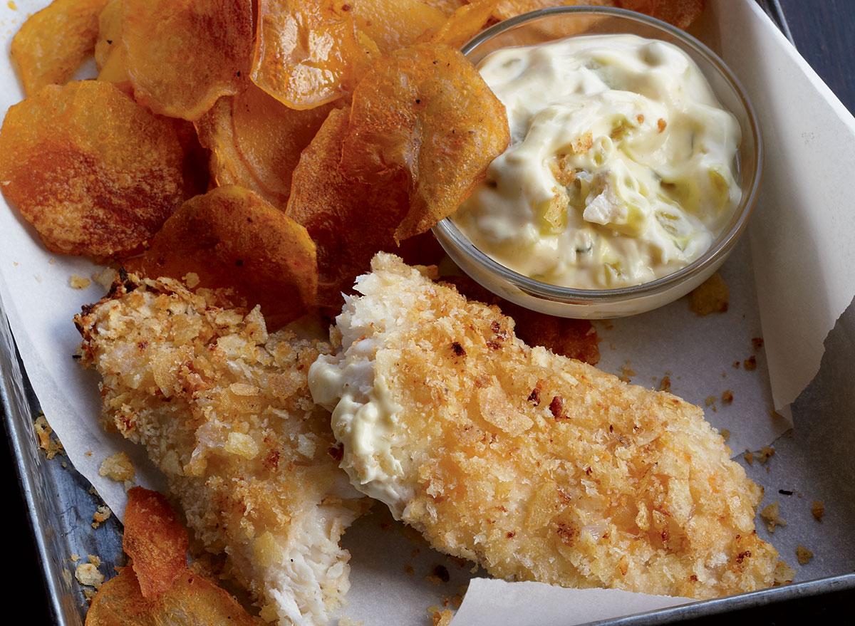 Low-calorie fish & chips