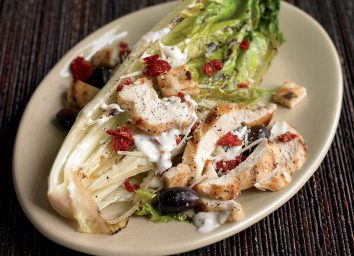 Low-calorie grilled caesar salad