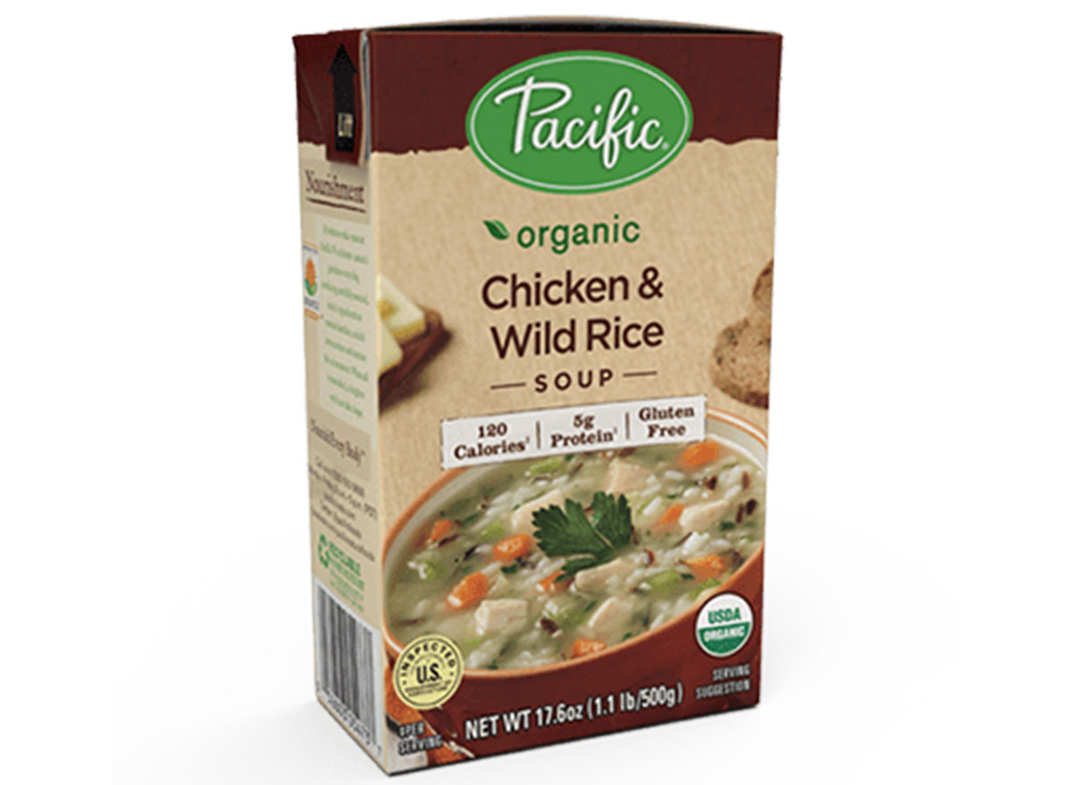 Pacific organic chicken and wild rice soup box