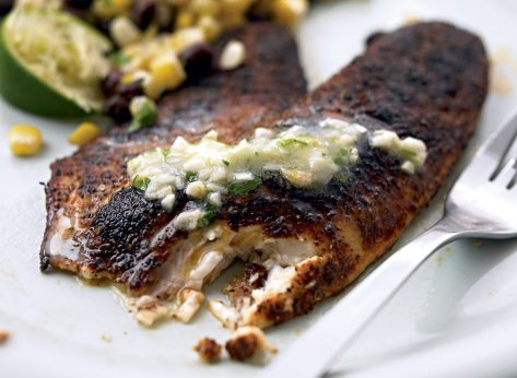 Paleo blackened tilapia with garlic lime butter