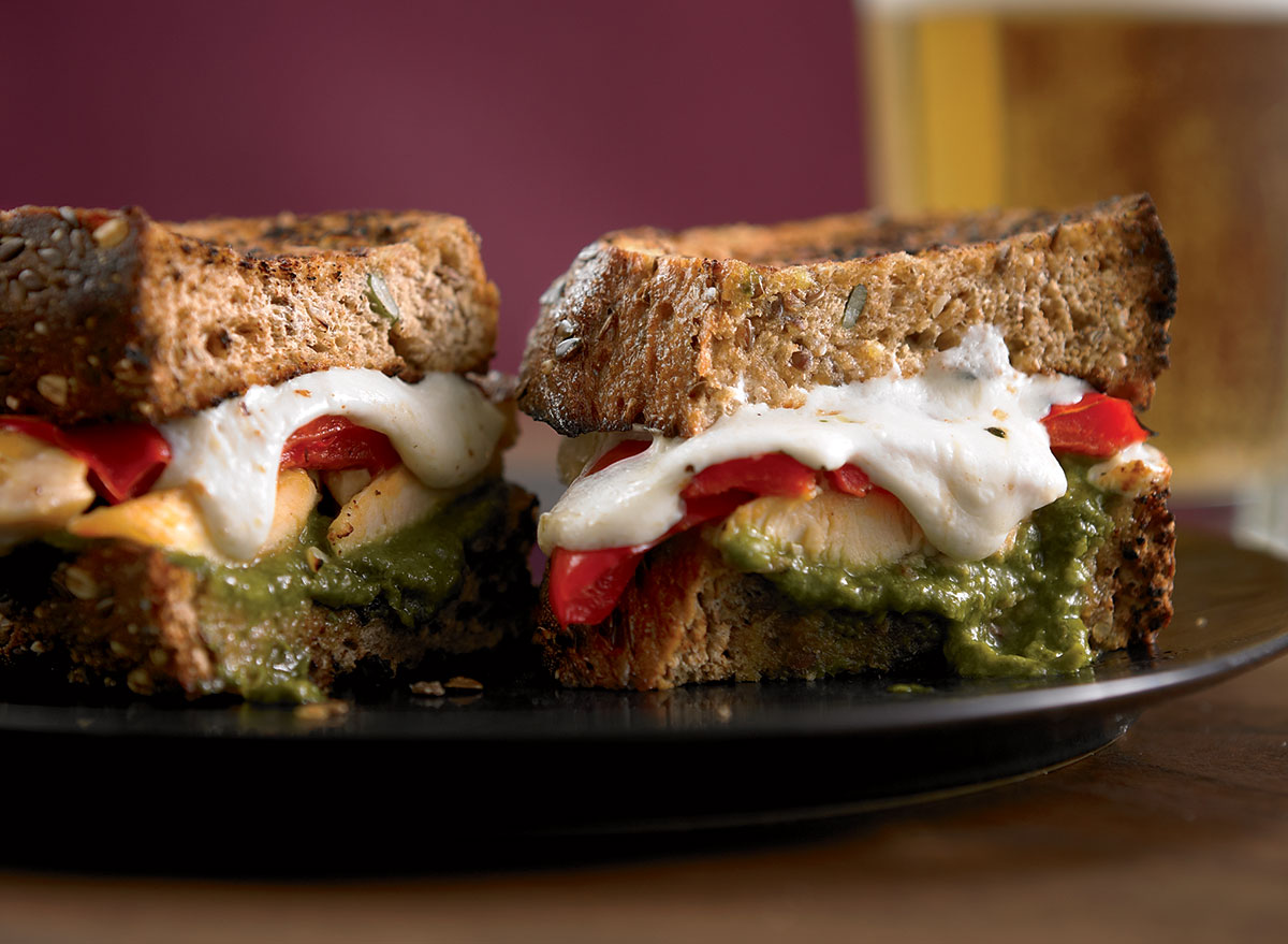 Paleo chicken panini with pesto and peppers