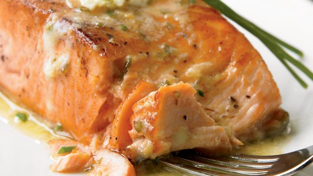 Paleo grilled salmon with ginger-soy butter
