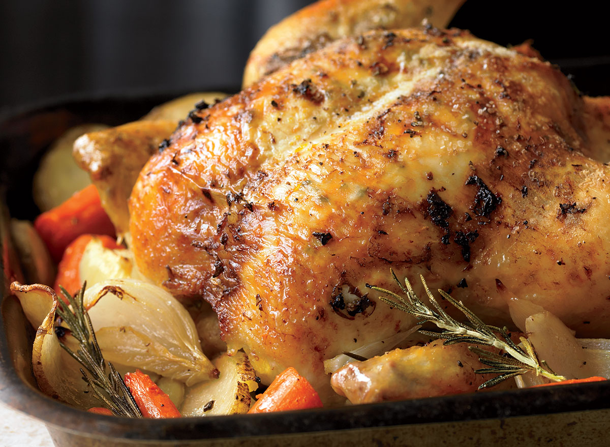 Paleo her roast chicken with root veggies