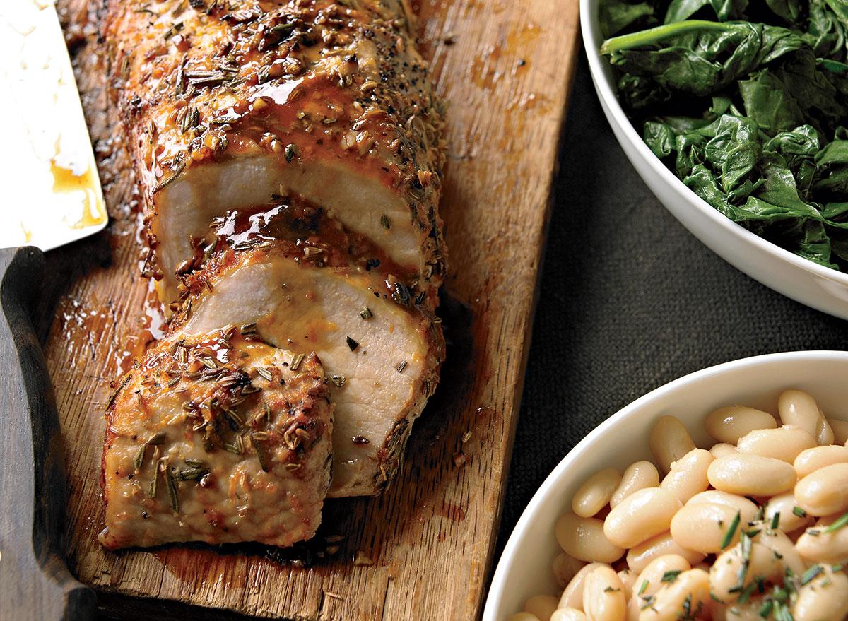 Paleo roast pork loin with white beans