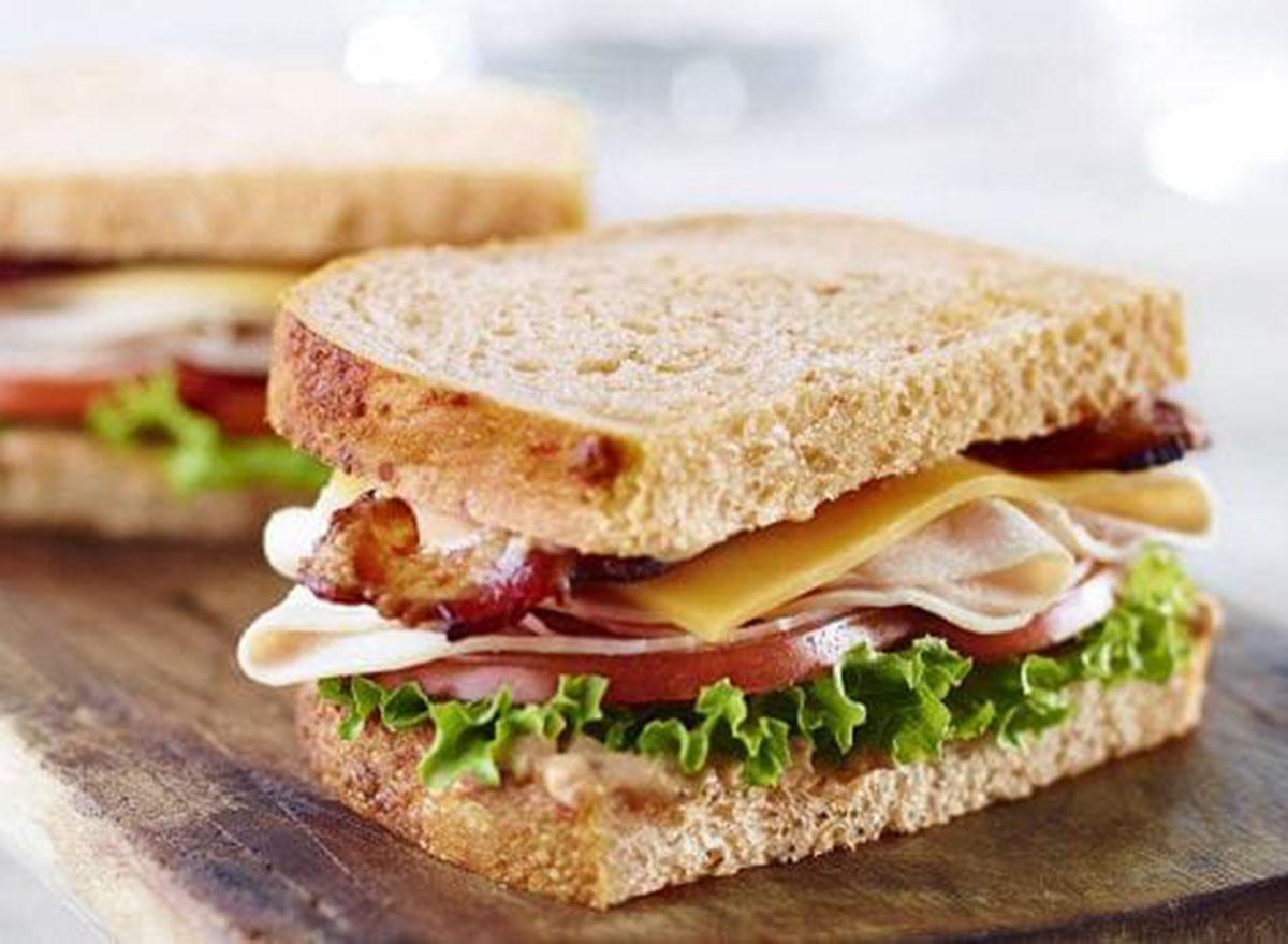 Panera bacon turkey bravo sandwich on tomato basil