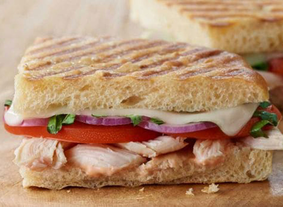 Panera frontega chicken panini on sea salt focaccia
