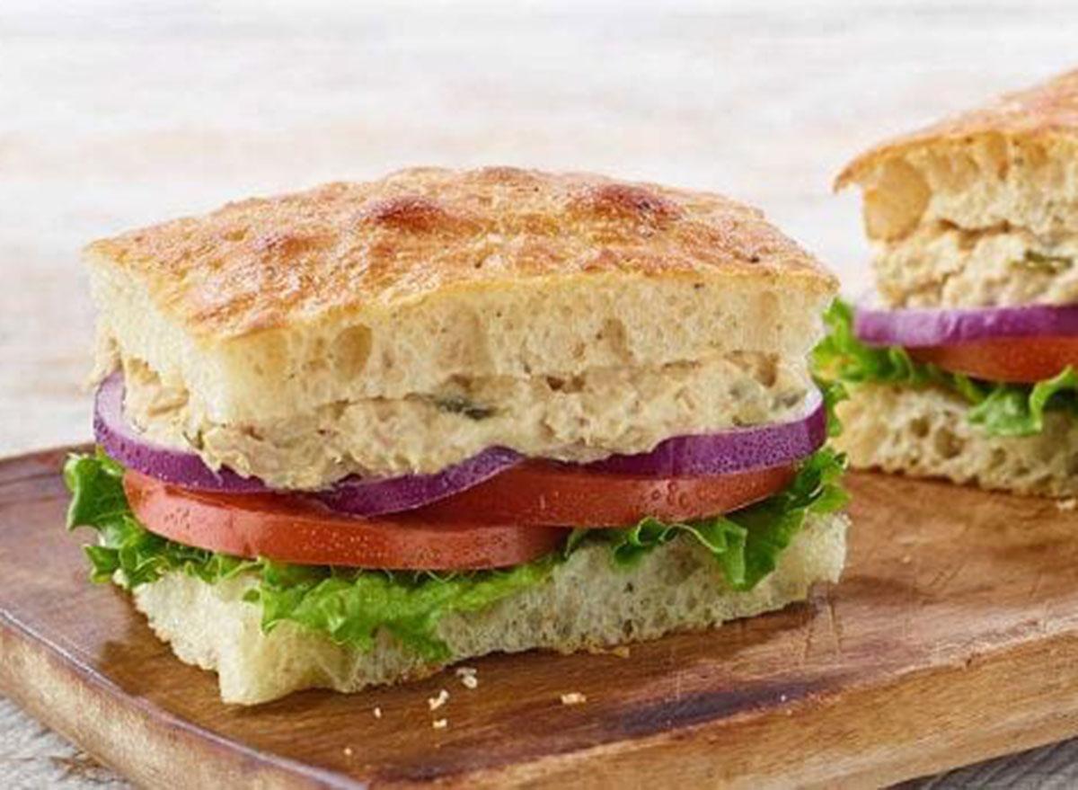 Panera tuna salad sandwich on black pepper focaccia