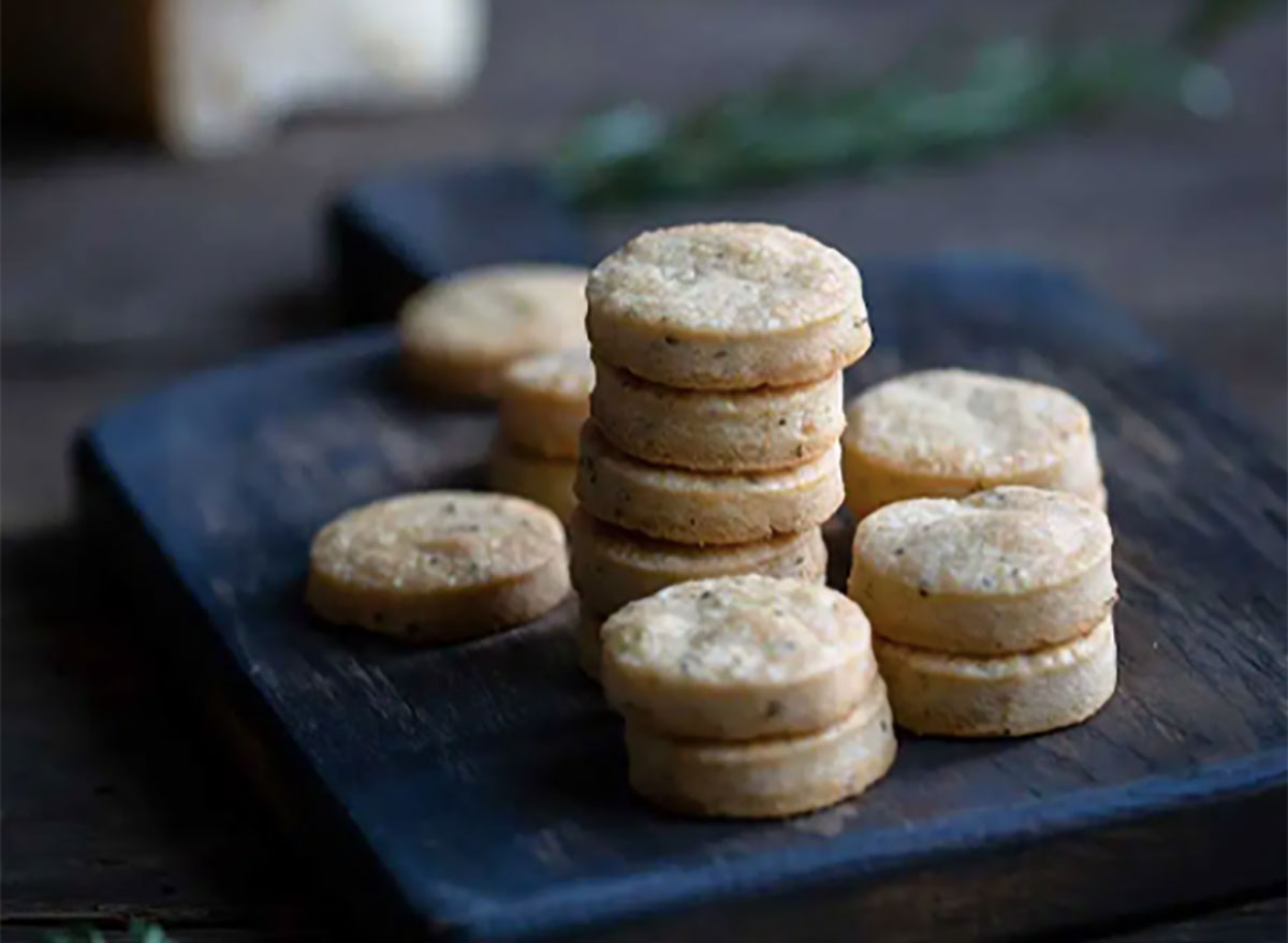 stack of homemade parmesan shortbread crackers