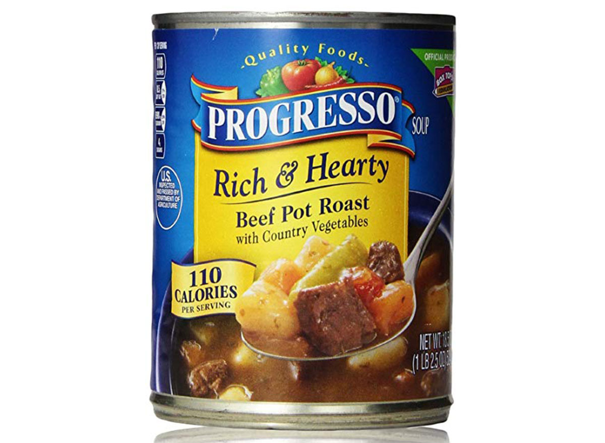 Progress rich and hearty beef pot roast soup can