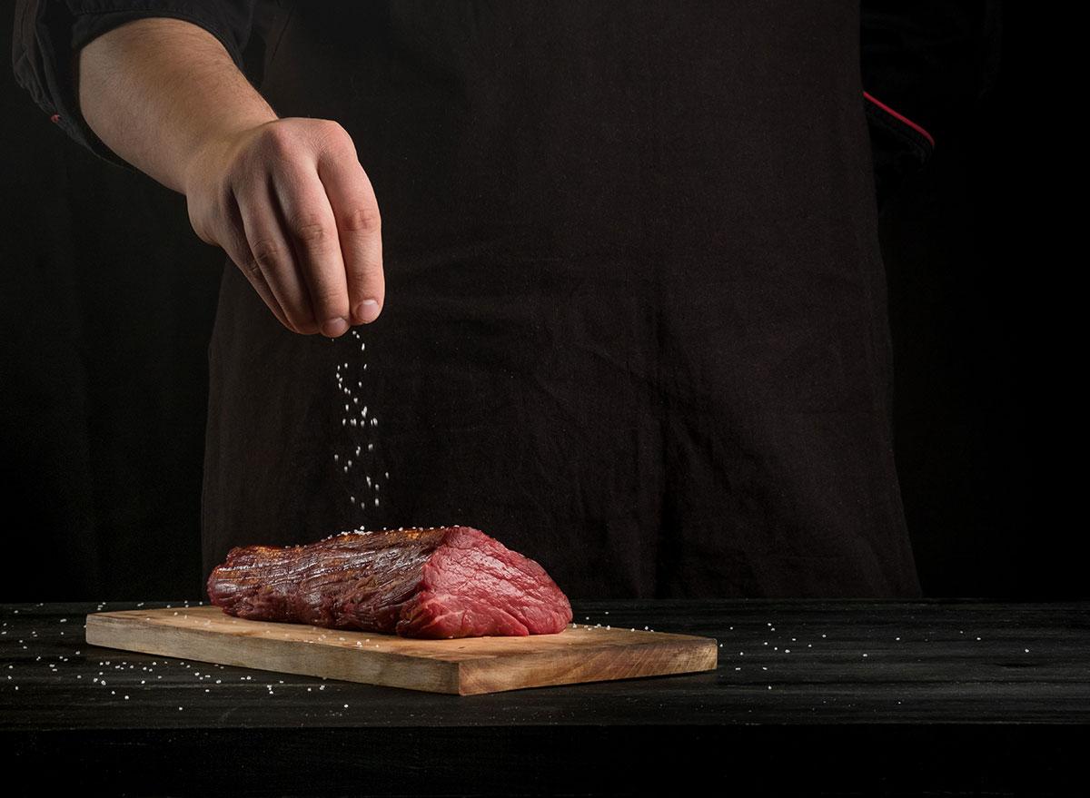 Salting beef