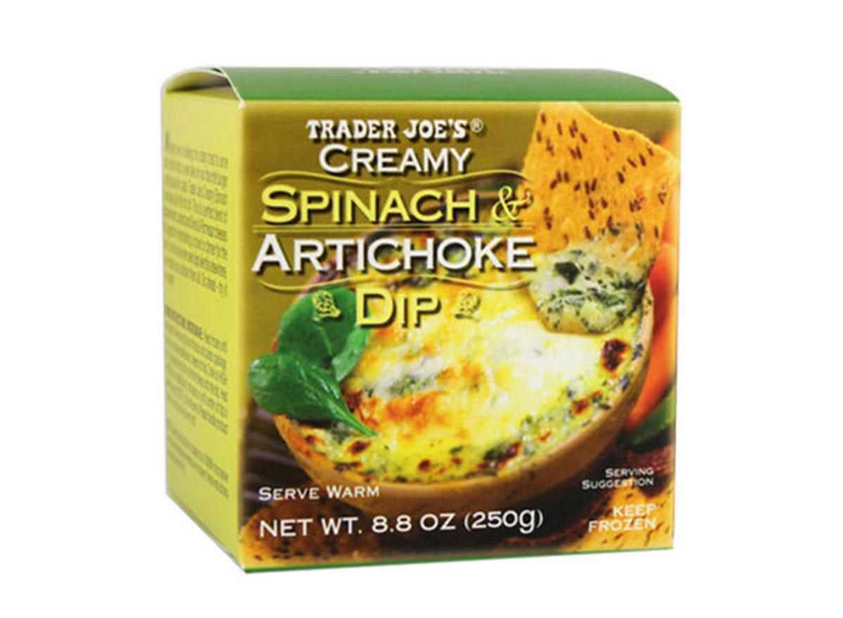 box of frozen trader joe's spinach artichoke dip