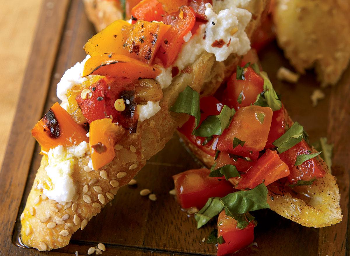 Vegetarian bruschetta two ways