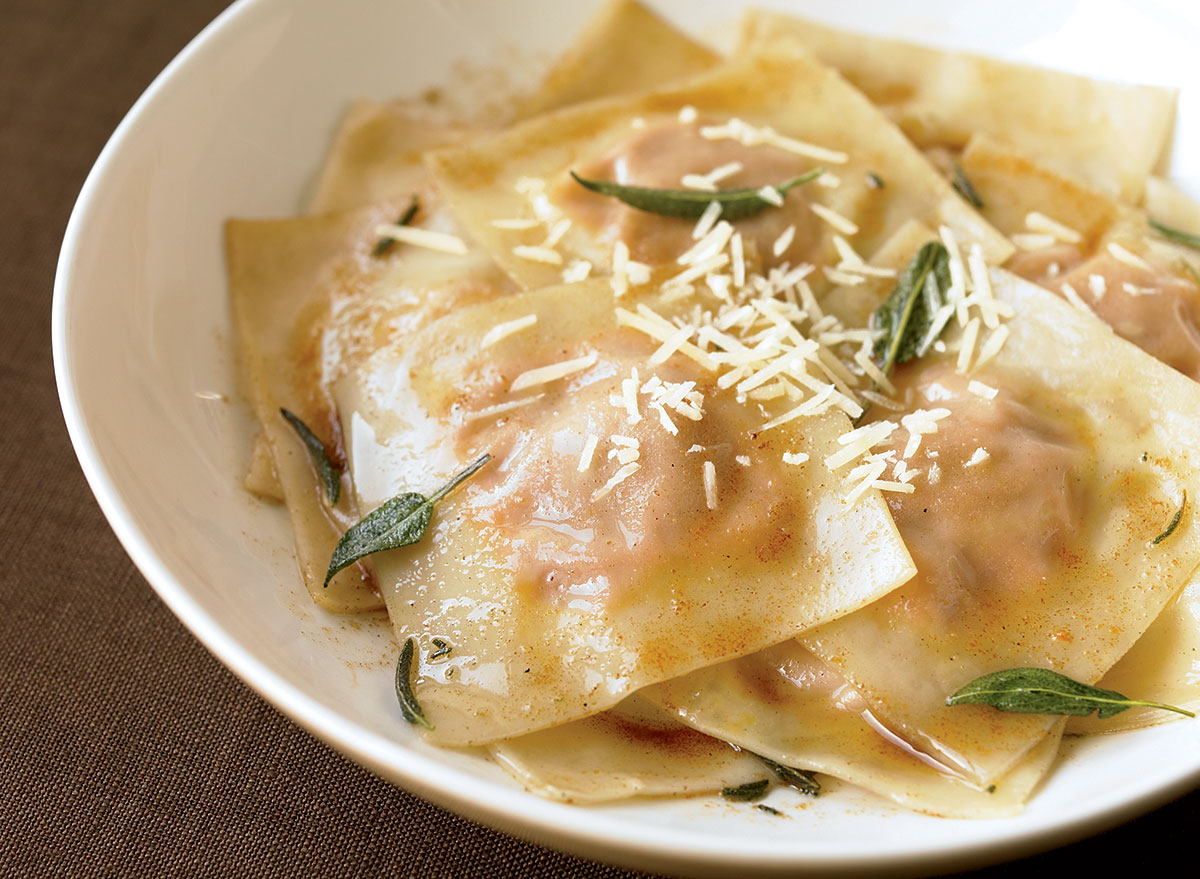 Vegetarian butternut ravioli with sage and brown butter