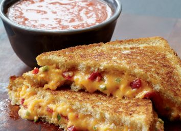 Vegetarian grilled cheese and tomato soup