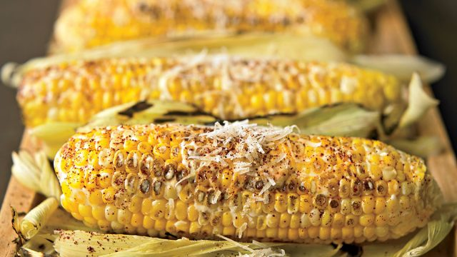 Vegetarian grilled mexican-style corn