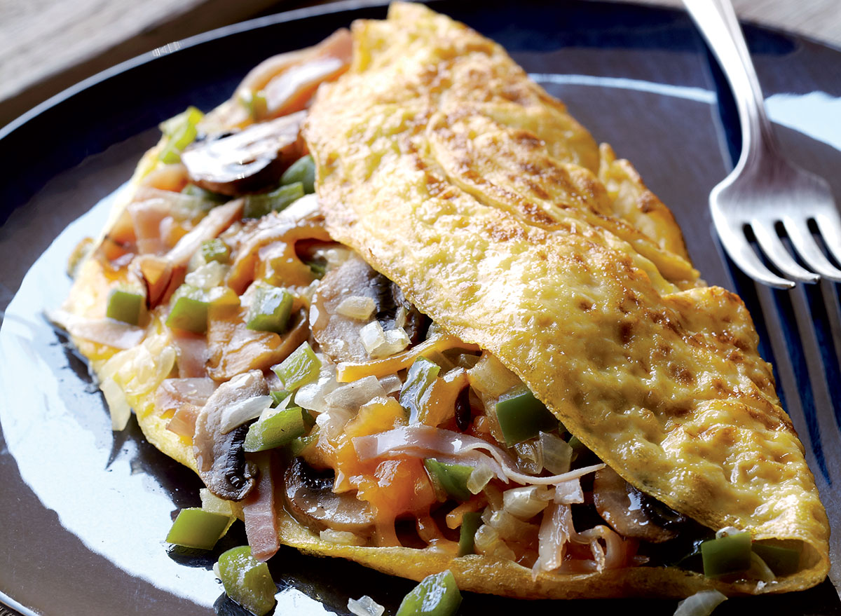 Vegetarian mile high omelets