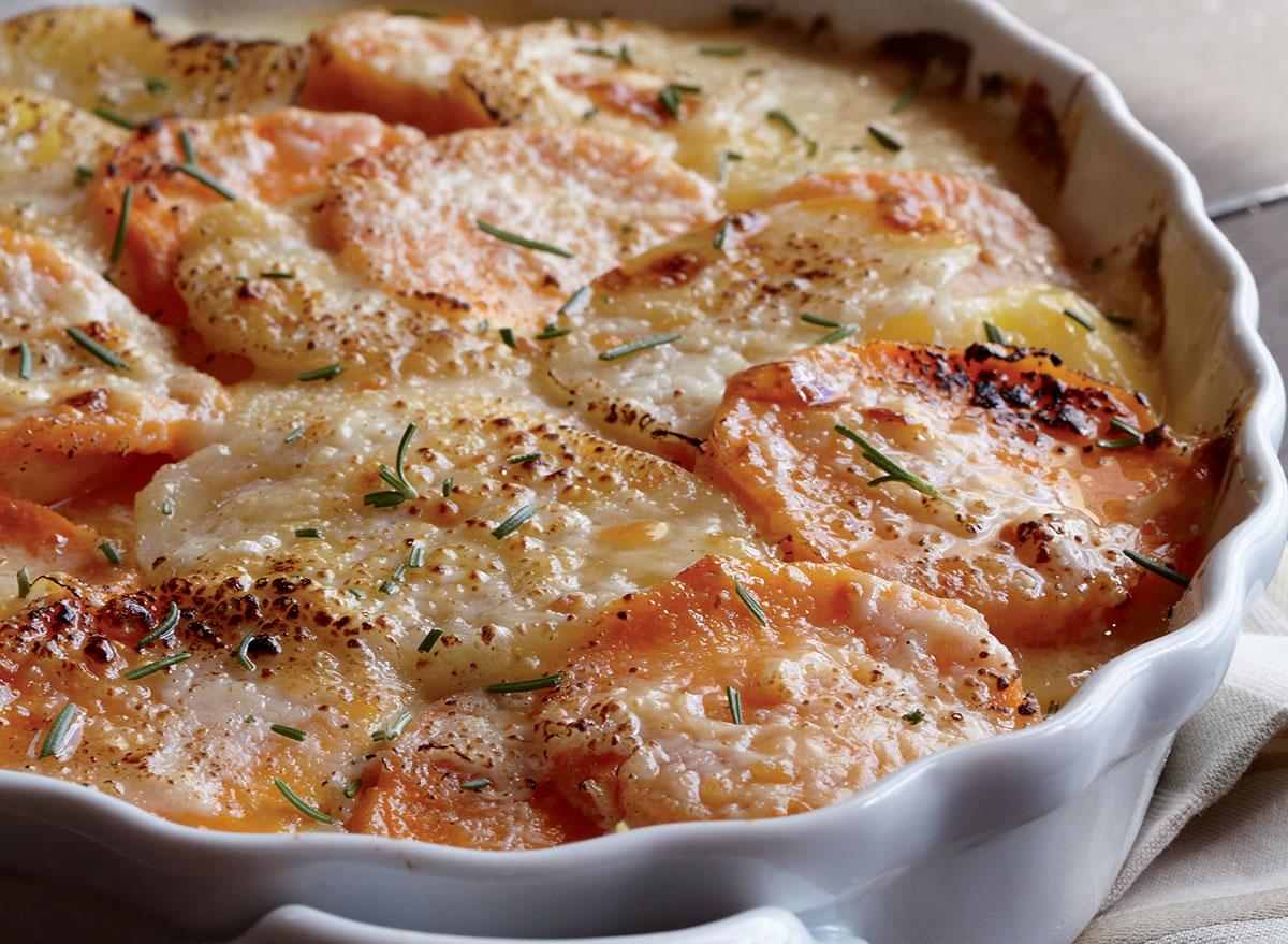 Vegetarian yukon gold & sweet potato gratin