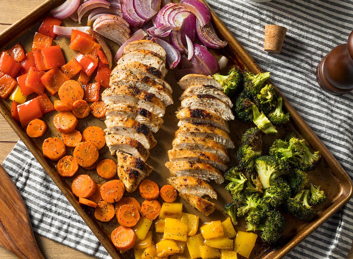 Chicken veggie sheet meal