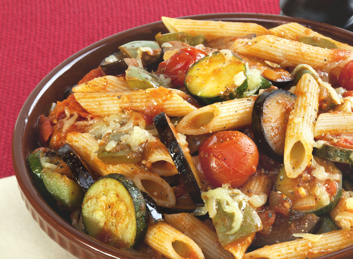 Chickpea pasta ratatouille zucchini cherry tomatoes eggplant