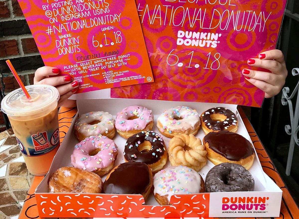 Dunkin' donuts national donut day box