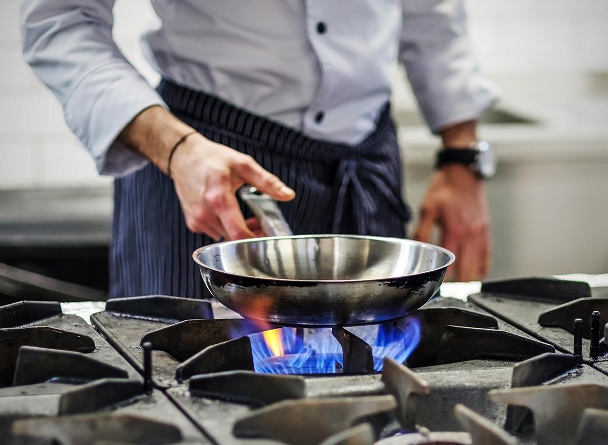 Heat under pan