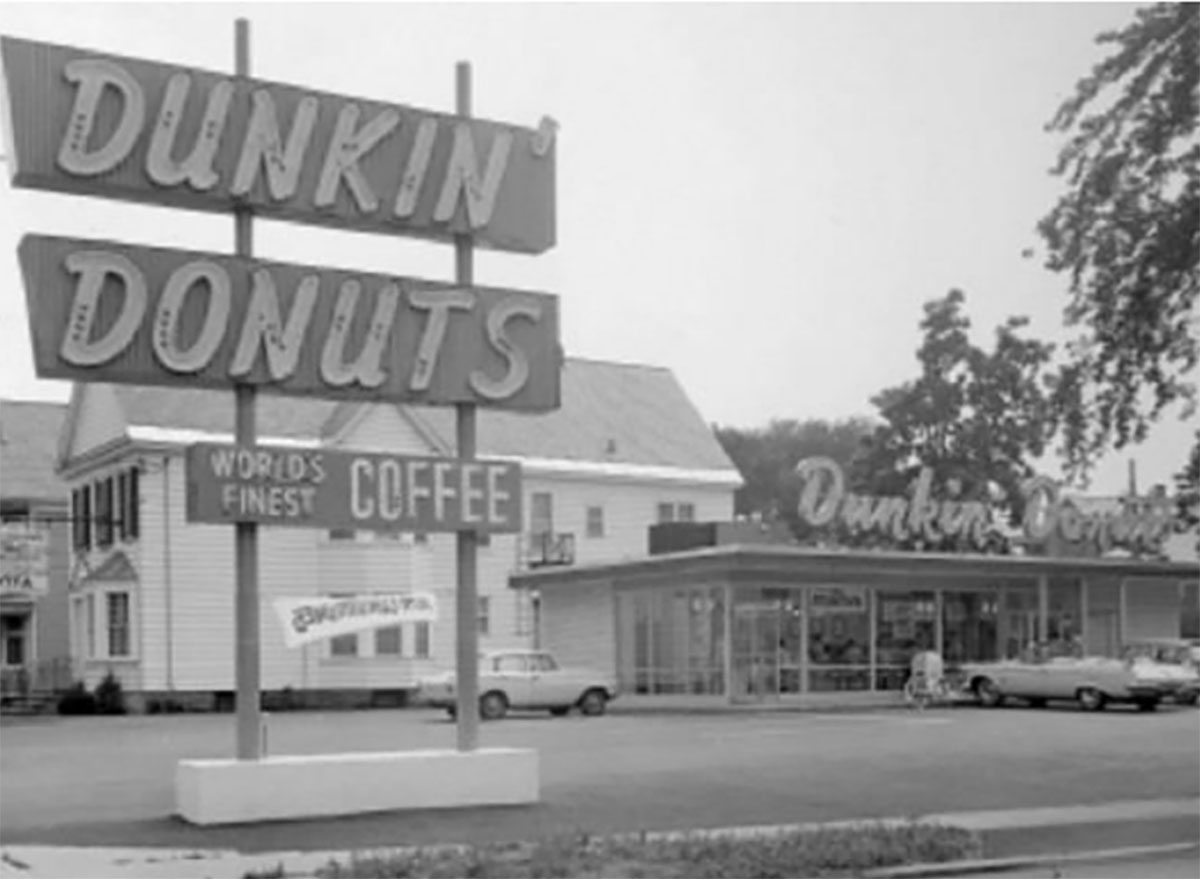 old dunkin donuts black and white photo