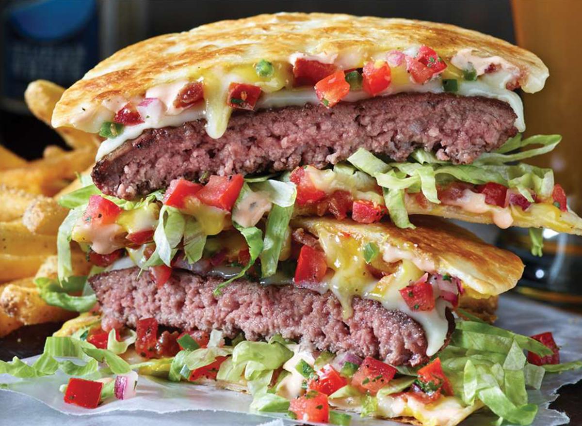applebees quesadilla burger with fries