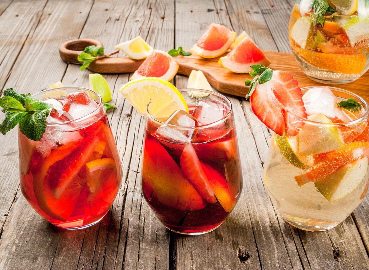 assorted sangria cocktails in short wine glasses
